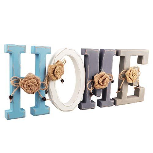 Texto Decorativo Home, Letra Home de Madera Azul Blanco Gris Home Decoracion, 18 x 11,5 x 2,5 cm