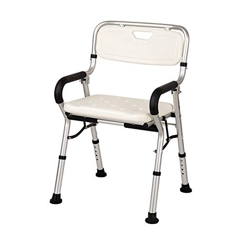 XGYUII Foldable Lift Bathroom Seat Shower Bathtub Shower Chair Shower Stool with Non-Slip Foot Pads Armrest Backrest for Disabled Elderly Assist