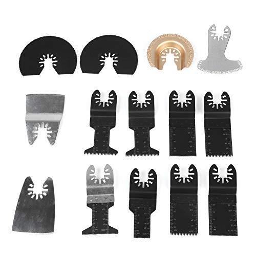 Hoja de sierra oscilante, Akozon 14 piezas Juego de herramientas de corte de precisión de hoja de sierra oscilante multifuncional