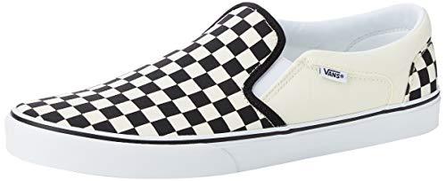 Vans Herren Asher Slip On, Weiß (Checkers/Black/Natural), 44 EU