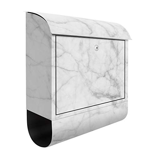 Bilderwelten Briefkasten mit Zeitungsrolle Bianco Carrara 46cm x 39cm