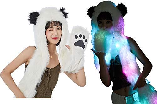 Light Up LED Color Changing Rave Spirit Animal Fluffy Fur Hat Hood (Fluffy Panda)