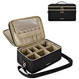 Large Makeup Bag, BAGSMART Double Layer Cosmetic Makeup Organizer Travel Makeup Train Case with Shoulder Strap for Cosmetics Makeup Brushes Toiletries Travel Accessories