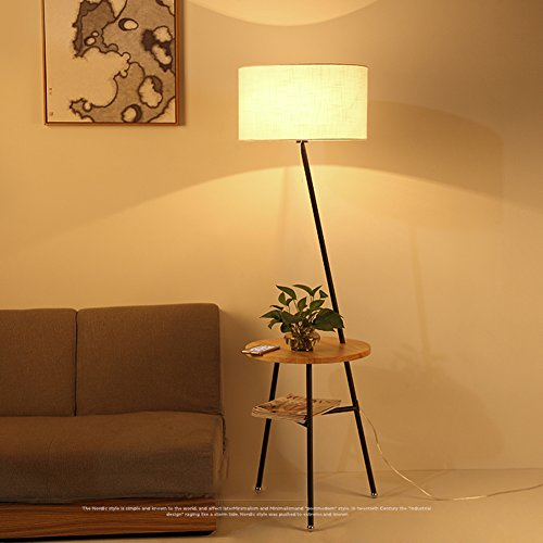 Stehende Stehlampen Stehlampe Stoff Holz Schmiedeeisen 45 * 160cm Nordic Wohnzimmer Stehlampe Einfaches modernes Sofa Couchtisch Licht Schlafzimmer Nacht japanische Stehleuchte ( Color : Wood color )