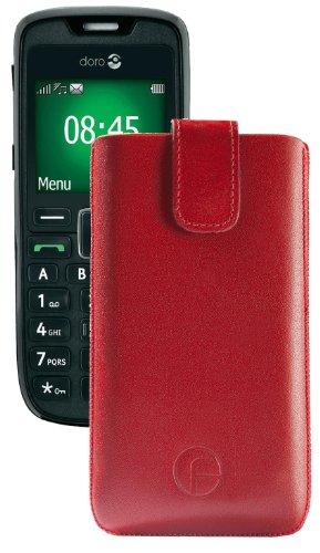 Original Favory Etui Tasche für / Doro PhoneEasy 508 / Leder Etui Handytasche Ledertasche Schutzhülle Hülle Hülle Lasche mit Rückzugfunktion* in Rot