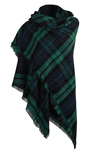 DELEY Retro Weiches Plaid Tartan Herbst Winter Schals Oversized Lange Stola Wrap Deckenschal Grün