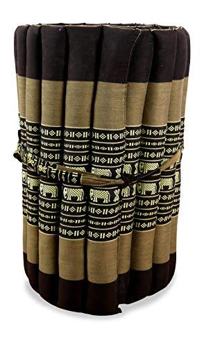 livasia Kapok Rollmatte in 190cm x 50cm x 4,5cm der Marke Liegematte BZW. Yogamatte, Thaikissen, Thaimatte als asiatische Rollmatratze (braun/Elefanten)