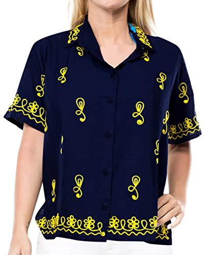 LA LEELA Camisa hawaiana para mujer de oficina, con botones, ajuste regular, bordada, Navy Blue_x421, Small plus-size