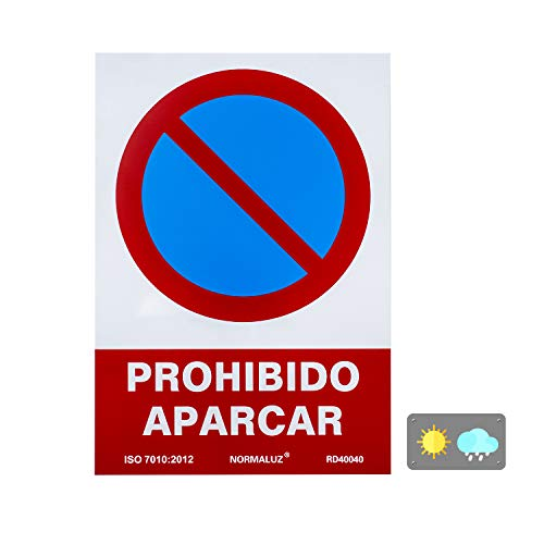 Normaluz RD40040 Señal Prohibido Aparcar PVC Glasspack 0,7 mm 21x30 cm, Rojo