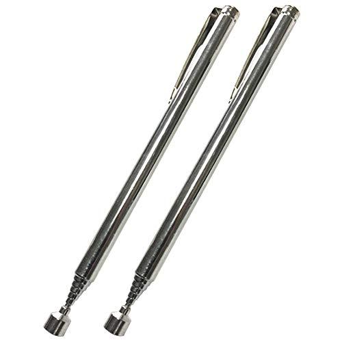 Dyda6 Tragbarer Teleskopstift, magnetisch, 2 Stück, ausziehbarer Präzisions-Stift, zum Aufheben von Muttern, Bolzen und Schrauben, max. Anheben von 0,6 kg, silber, Free Size
