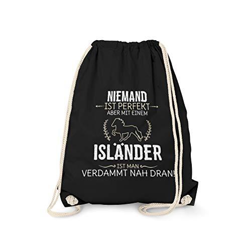 Fashionalarm Bolsa de deporte – Niemand ist perfecto – Isländer   Fun mochila con texto en alemán – Idea de regalo para amantes de los caballos equitación Island-Pony