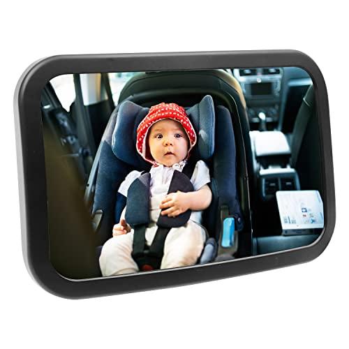 자동차 시트 리어 뒷면에 대 한 마이커리 아기 거울 - 발가락을위한 넓은 머리 - SHAVERSPROOF 안전 및 안전한 베이비 카 시트 미러 - 360 ° 조절 가능성 및 설치 유아용 뒷좌석 거울
