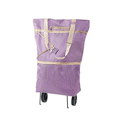 speoww Bolsa de Compras 2 en 1, Maleta Plegable con Ruedas, Carrito de Compras Reutilizable, Bolsa de Regalo para Damas, 3 Colores