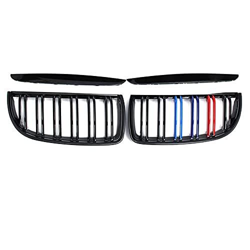 YJSZJY Coche Ridney Grille, Un Par De Listones Dobles Negros De Brillo para E90 E91 3 Series 320I 325I 328I 2005-2008 Accesorios para Automóviles,Gloss Black 2 Line m