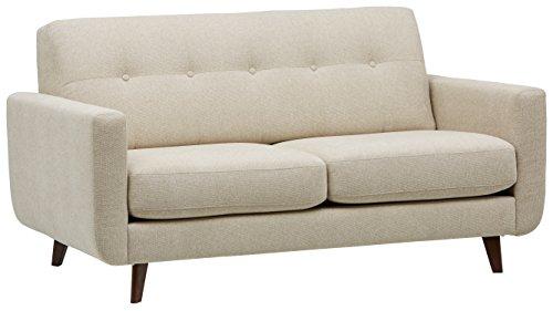 Marchio Amazon -Rivet, divano trapuntato modello Sloane, stile mid-century moderno, larghezza 163 cm, colore guscio d'uovo
