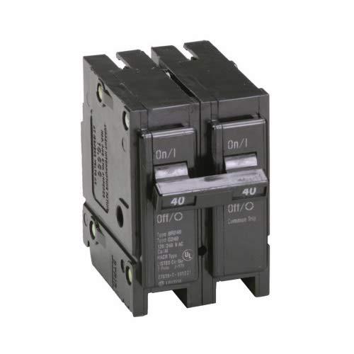 EATON BR240 Type BR Circuit Breaker, 120/240 VAC, 40 A, 10 kA, 2 Poles, Common/Thermal Magnetic Trip