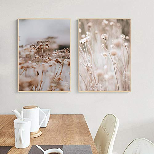 YQLKC Poster Gras Pflanze Natur Landschaft Leinwanddruck Nordische Wandkunst Malerei Bild Startseite Wohnzimmer Dekoration-50 x 70 cm x 19,6 x 27,5 Zoll x2 Kein Rahmen
