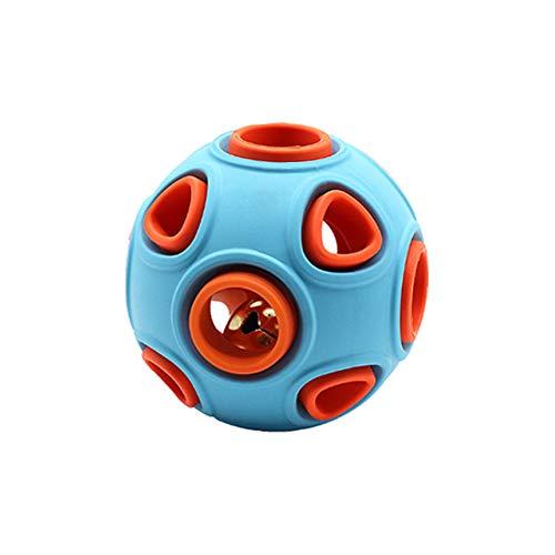 Andiker Ball für Hunde, interaktives Spielzeug für Hunde mit Glöckchen, Gummiball, Übungsball, zur Erhöhung des IQ und der Suchfähigkeit (L, Blau)