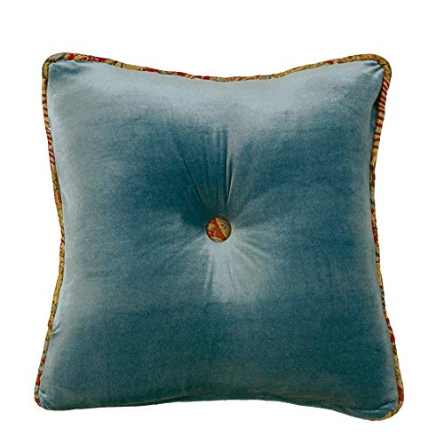 "HiEnd Accents San Angelo Western Teal Velvet Tufted Throw Pillow, Paisley Accent, 18"" x 18"""