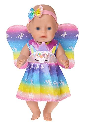 ebuddy 2pc Bunte Einhornpuppenkleidung mit Flügeln und Stirnband für 43cm / 17 Zoll Neugeborene Babypuppen (Keine Puppe)