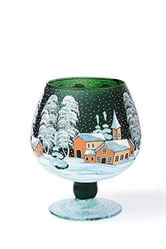 AROMA HOME STUDIO ART PAINTING Weihnachts Windlicht Teelichthalter, Winter-Design Take a Rest, Weinglas (grün, mittel)