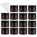 15 Pack 1 oz Empty Amber Glass Jars, 30ml Round Refillable Cosmetic Container Storage Jars with Inner Liners and Black Lids,Perfect Travel Jars for Cosmetics,Face Cream Lotion and More Beauty Products