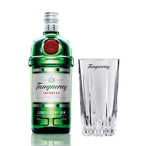 Tanqueray London Dry Gin Imported Set mit Bar Glas, Alkohol, Flasche, 47.3%, 700 ml