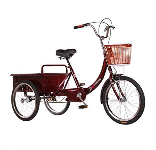 FMOGE Triciclo Adulto Viejo Carrito De Compras De Supermercado De 3 Ruedas Rickshaw De Pedal Movilidad Infantil Refuerzo De Bicicleta Carrito De Compras Cesta 50 * 40 Cm Chasis Más Estable