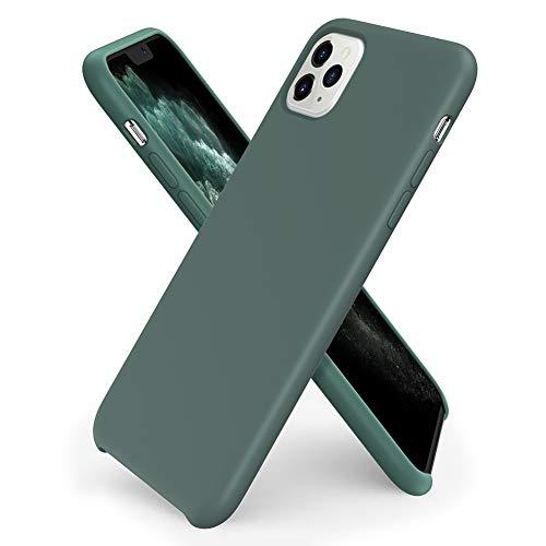 ORNARTO Funda Silicone Case para iPhone 11 Pro, Carcasa de Silicona Líquida Suave Antichoque Bumper para iPhone 11 Pro (2019) 5,8 Pulgadas-Verde Pino