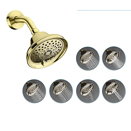 AMAZING FORCE 5 Inch Fixed Shower Head 5 Inch with 6 Spray Settings, Adjustable High Pressure Rainshower Head with Anti-Clogging Nozzles, Brushed Nickel
