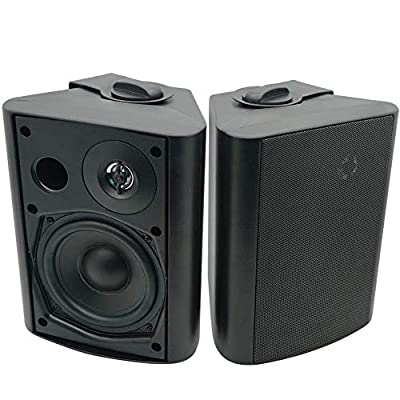 Herdio 5.25 Inches 200 Watts Indoor Outdoor Patio Bluetooth Speakers with Superior Dome Tweeter ALL Weather Wired Wall Mount System from