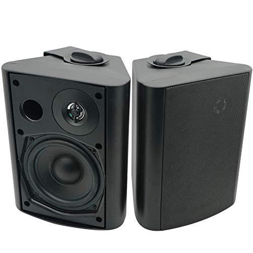 Herdio 5,25 Zoll 200 Watt Bluetooth Wasserdicht Außenlautsprecher Outdoor-Lautsprecher für Garten, Terrasse, Restaurant schwarz(one pair)