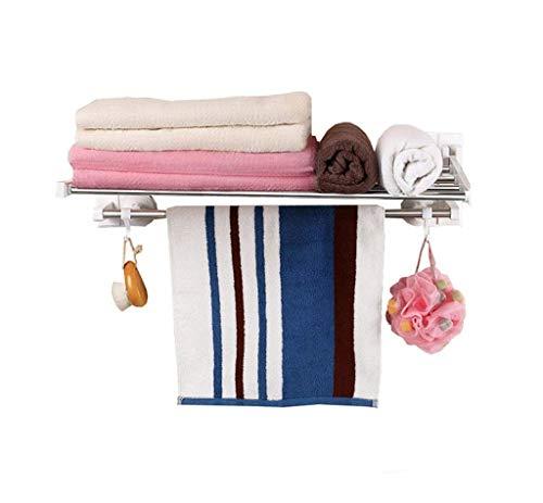 LIYONG Handtuchschienen Falten Wand-montiertes Badezimmerregal 1 Badezimmerboden mit Haken und Container Lagerregal Handtuch HLSJ