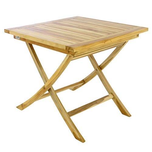 Divero Divero Balkontisch Gartentisch Beistelltisch Teak Holz Tisch für Terrasse Balkon Garten - wetterfest massiv unbehandelt - 80 x 80 cm Natur-braun