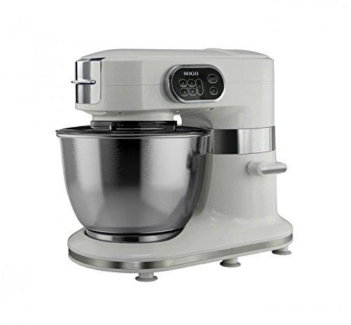 Sogo SS-14500 - Robot de cocina multifunción 3 en 1, amasadora, mezcladora y batidora, color blanco