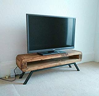 Tv stand Narrow retro style rustic tv unit 90 cm