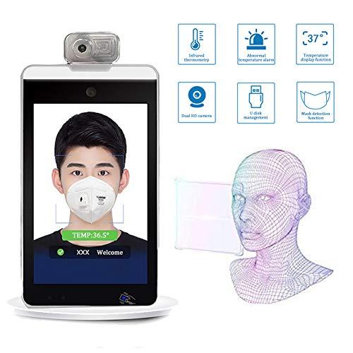 WANGOFUN Gesichtserkennung Körpertemperatur-Messsystem, Infrarot Körpertemperaturerfassung Scanner Access Control Lochkartenmaschine, Unterstützung Gesicht Vergleich Library (Ständer enthalten)