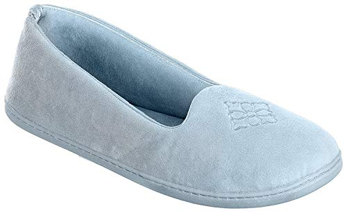 Dearfoams Women's Micro Velour Embroidered Closed Back Slippers (Large, Resort Blue)