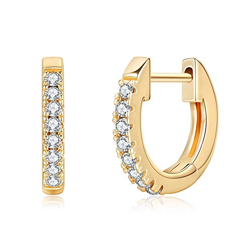 Huggie Earrings for Women Girls - 14K Gold Plated Cubic Zirconia Huggie Stud Small Hoop Earrings Rose Gold Hypoallergenic Earrings, Tiny Cubic Zirconia Huggy Hoop Cuff Ear Hugger Earrings for Women