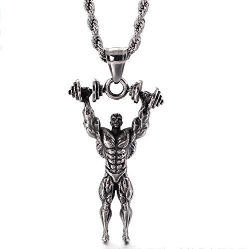 YANGFJcor Colgante de Levantamiento de Pesas para Hombres Deportivos Europeos y Americanos, Accesorios de Collar con Mancuernas para Ejercicios musculares, Regalos Deportivos,Weightlifting