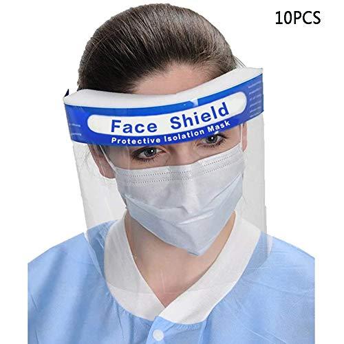 Smiling flower Einweg-Gesichtsschutz, [10 Stück] All-Purpose Face Shield Transparent Schutz Maske Anti-Saliva Isolation Schutz Hat FH06