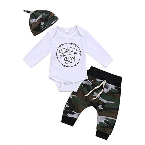 Geagodelia - Conjunto de ropa para recién nacido (3 piezas), diseño de letra estampada, pantalón de camuflaje y sombrero camuflaje 3- 6 Meses