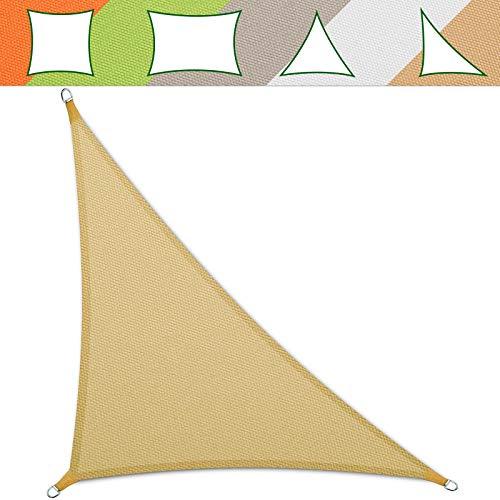 casa pura® Sonnensegel wasserabweisend imprägniert | Testnote 1.4 | Dreieck | UV Schutz Größen (Sandfarben, 5 x 5 x 7 m)