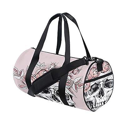 Human Skull Flower Wreath Custom Multi Lightweight Large Yoga Gym Totes Handbag Travel Canvas Duffel Bags With Shoulder Crossbody Fitness Sports Luggage For Boys Girls Mens Womens