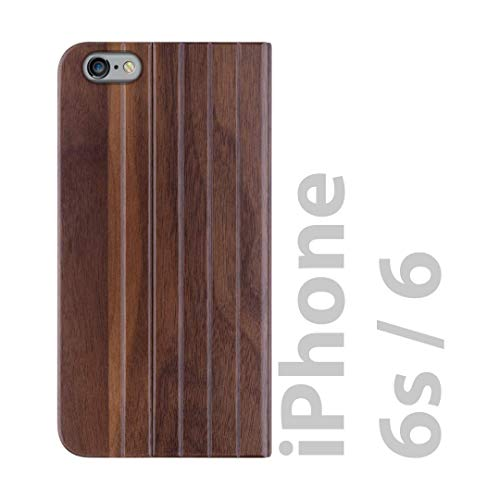 iATO iPhone 6/6s Book Type Case - Real Walnut Wood Grain Premium Protective Shockproof Front and Back Wooden Cover - Unique, Stylish & Classy Folio Flip Bumper Accessory Designed for iPhone 6/6s
