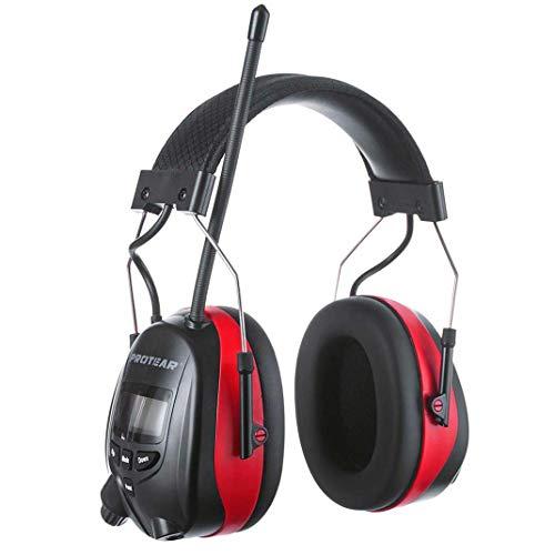PROTEAR Gehörschutz mit Radio/Bluetooth/FM/AM, wiederaufladbare Gehörschutzkapsel mit Freisprechfunktion, für Industrie,BAU und Mähen Lärmreduzierung SNR 30dB(Rot)