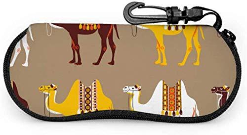 Camel African Animal In Desert Estuche para gafas de sol para hombre Estuche para gafas de sol para mujer Estuche blando con cremallera de neopreno portátil ligero Estuche para gafas de sol para mujer