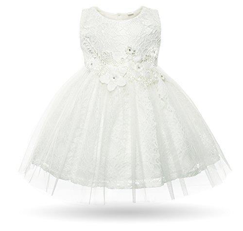 CIELARKO Baby Mädchen Kleid Kleinkind Blumen Spitze Taufkleid Festlich Hochzeits Kleidung, Weiß, 13-18 Monate