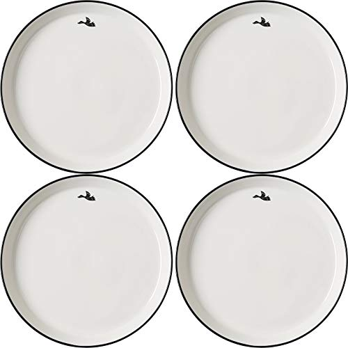 Juego de 4 placas de pasta, platos de cena o platos Breakfast hechos de porcelana de alta calidad, 25,5 cm (blanco).