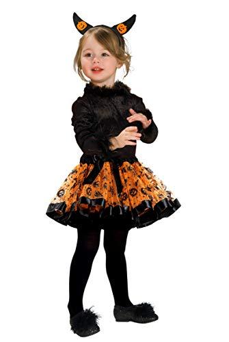Fontee® Costumi Halloween Ragazze Vestiti Tutu Gonne Abiti Gonna da Balletto per Ragazze Bambini, con Zucca Fascia Capelli, M (100~110 cm)